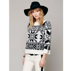 Free People Snowflake Knit Wool Sweater Medium